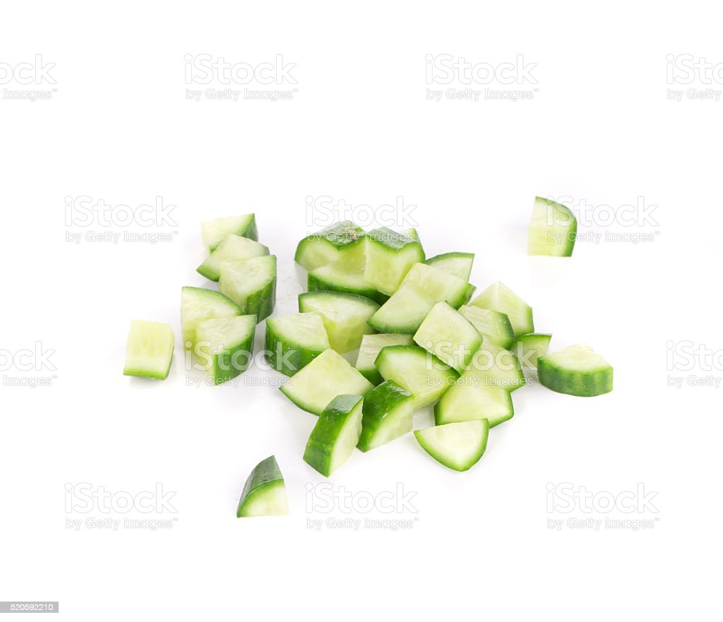Bunch of sliced cucumber. stock photo
