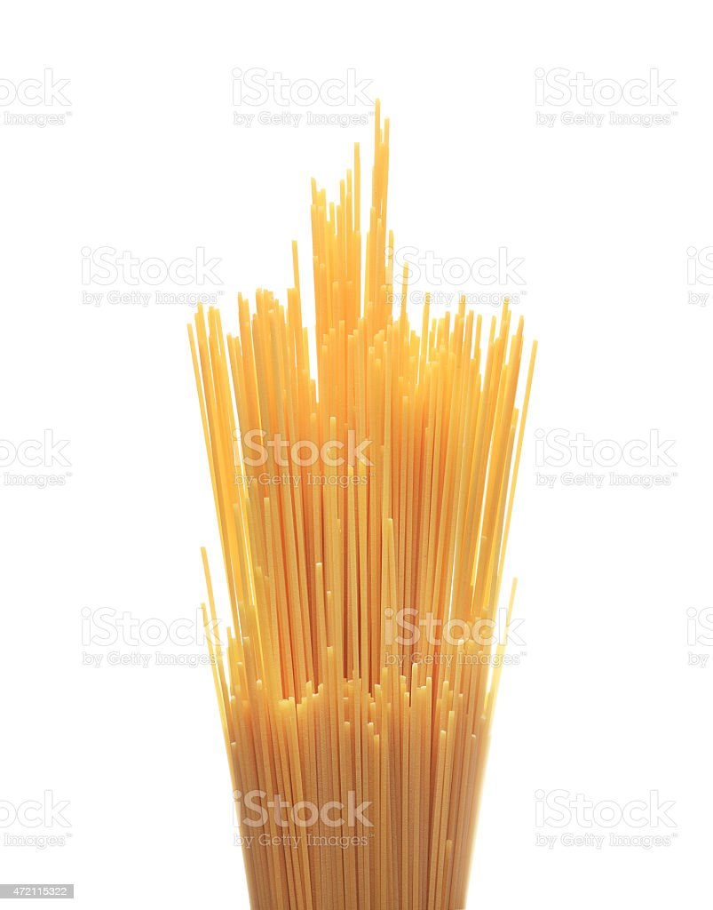 Bunch of spaghetti pasta isolated on white background stock photo