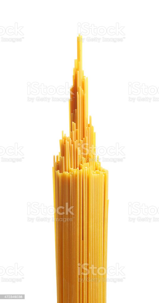 Bunch of spaghetti pasta isolated on white stock photo