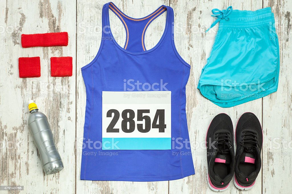 Bunch of sportswear and equipment stock photo