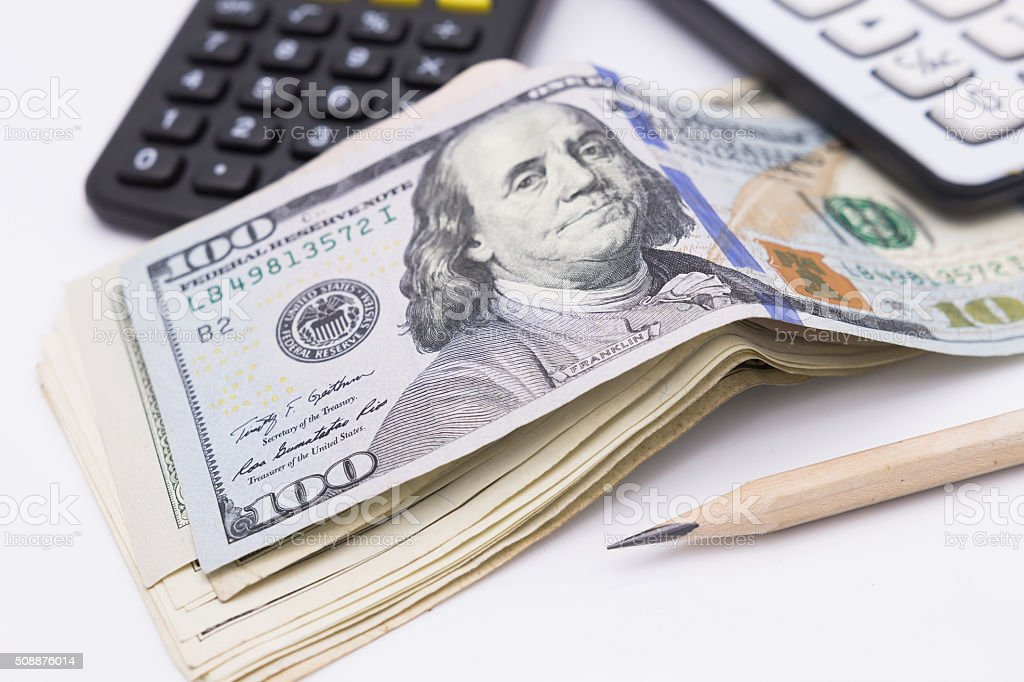 bunch of the  one hundred dollar bills and wallet stock photo