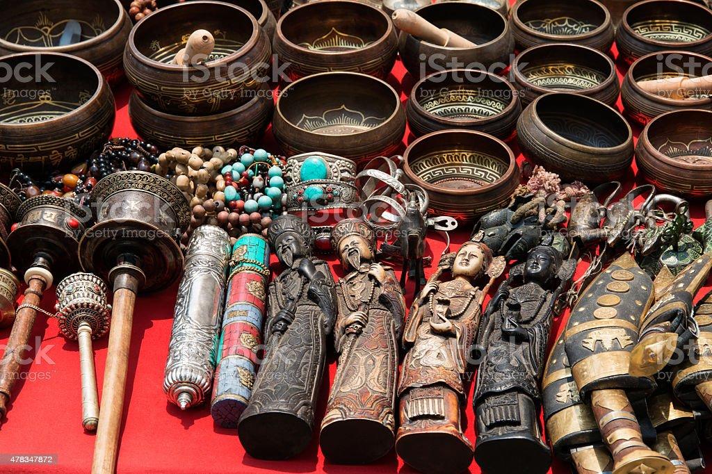 Bunch of traditional souvenirs (market in Nepal, Kathmandu) stock photo