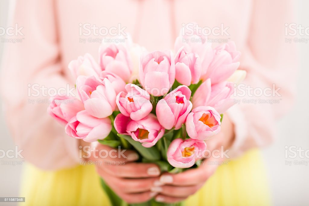 Bunch of tulips in woman's hands, shallow dof. stock photo