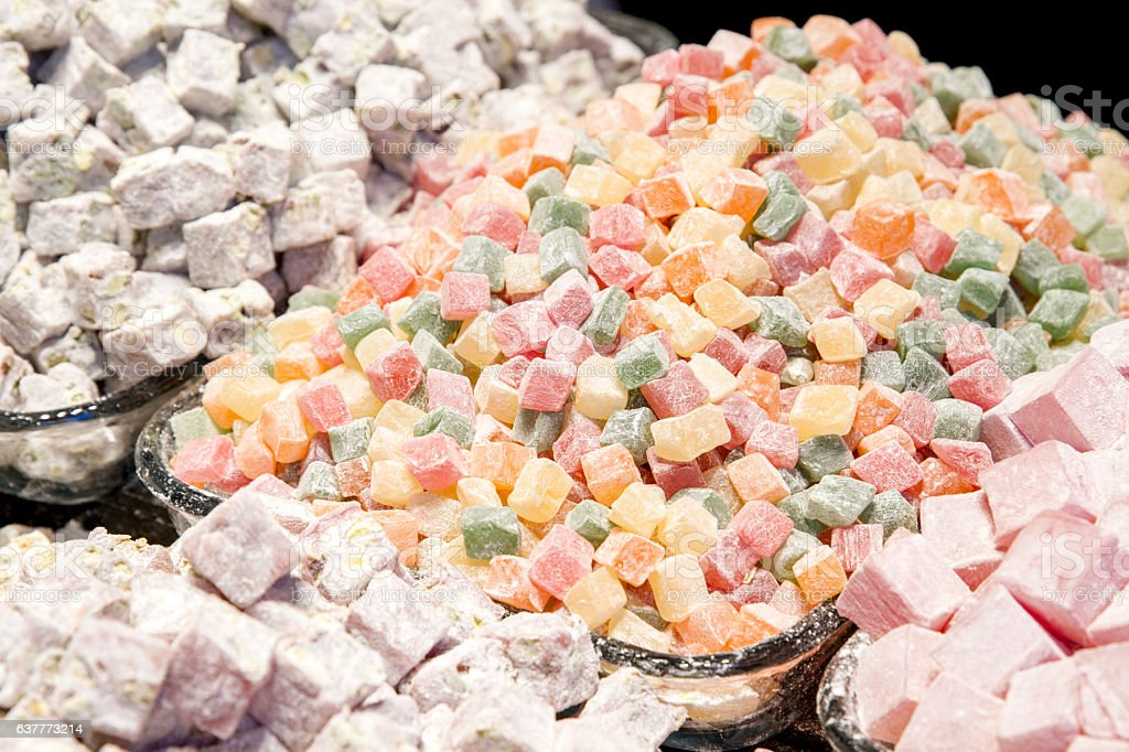 Bunch of turkish delight arrangement plates on table stock photo