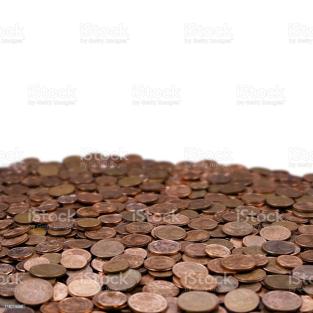 Bunch of used and worn euro cents - european currency stock photo