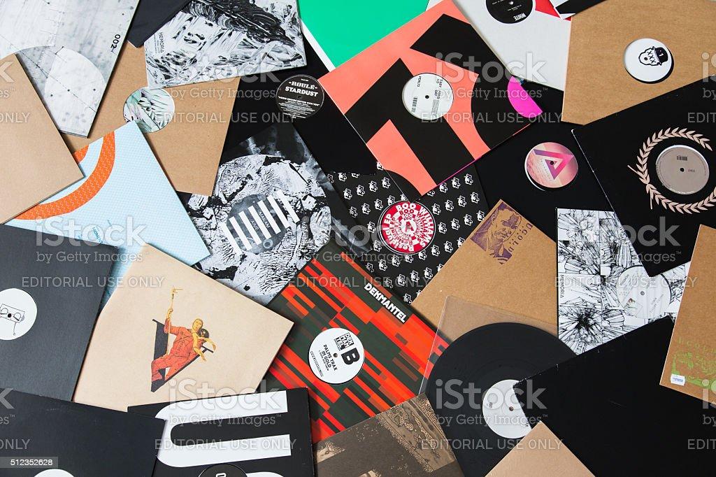 Bunch of vinyl records on the floor stock photo