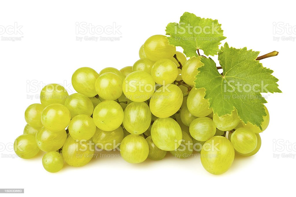 Bunch of white grapes on white background stock photo