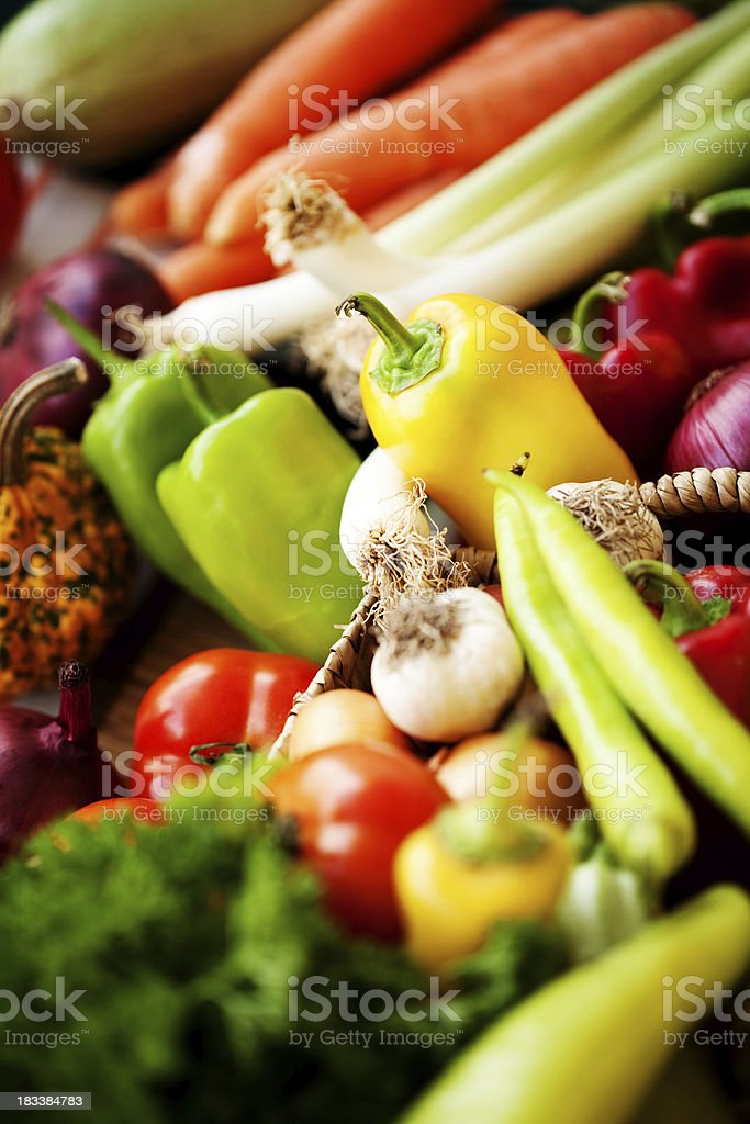 Bunch of whole assorted fresh organic vegetables royalty-free stock photo