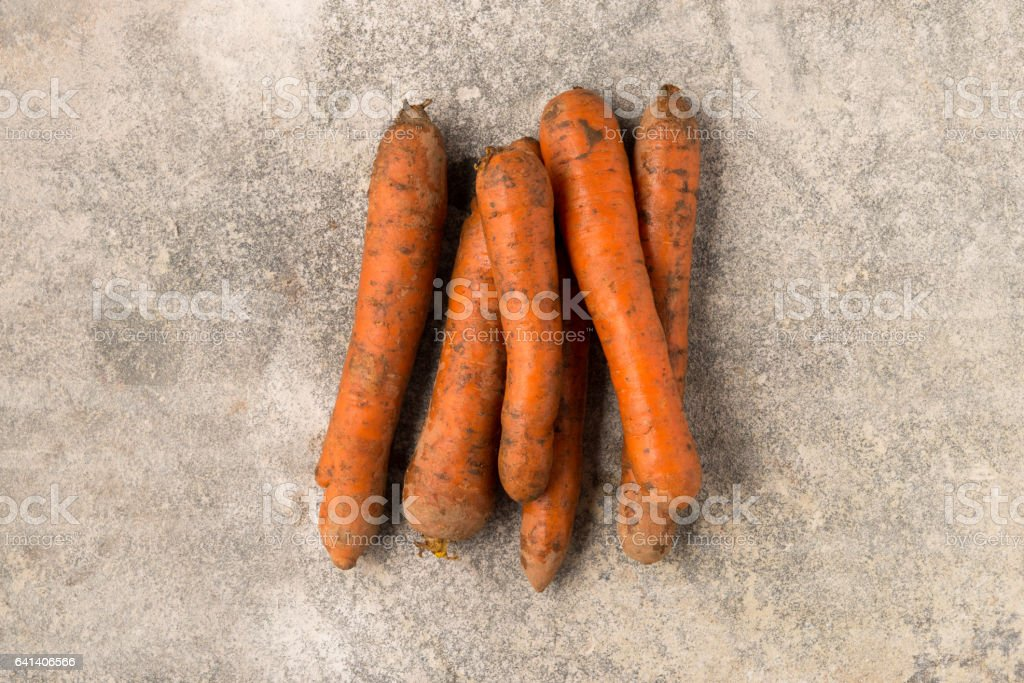 Bunch of Whole Fresh Carrots stock photo