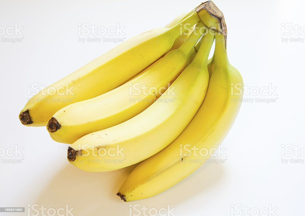 Bunch of Yellow Bananas on White royalty-free stock photo