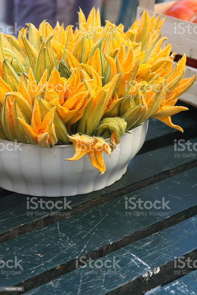 Bunch of Zucchini Flowers on Sale royalty-free stock photo