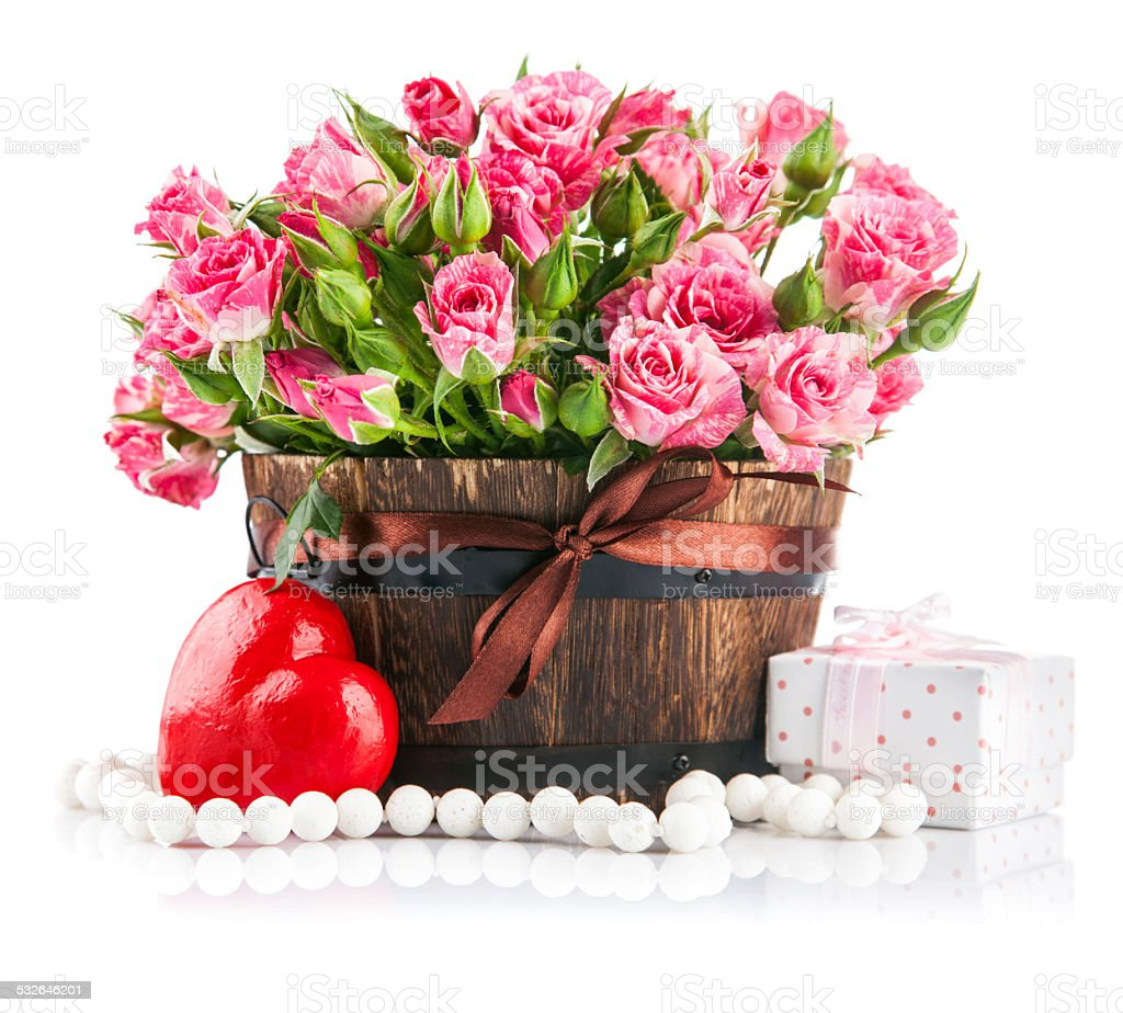 Bunch pink roses with gift to day saint valentine stock photo