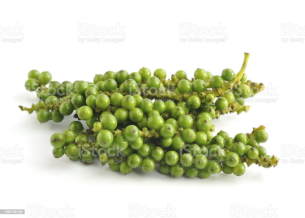 Bunches of fresh green pepper isolated on white background stock photo