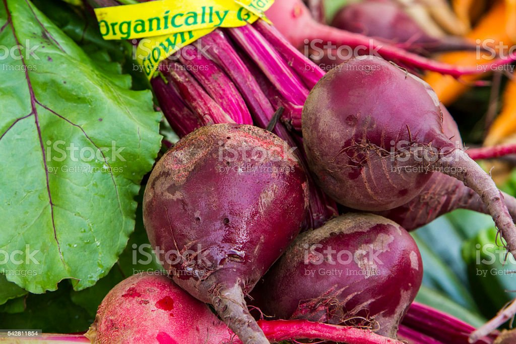 Bunches of organic beets at a farmer's market stock photo