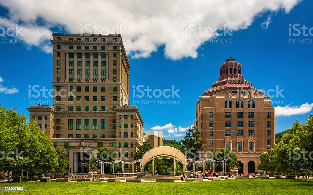 Buncombe County Courthouse and Asheville City Hall, in Asheville stock photo
