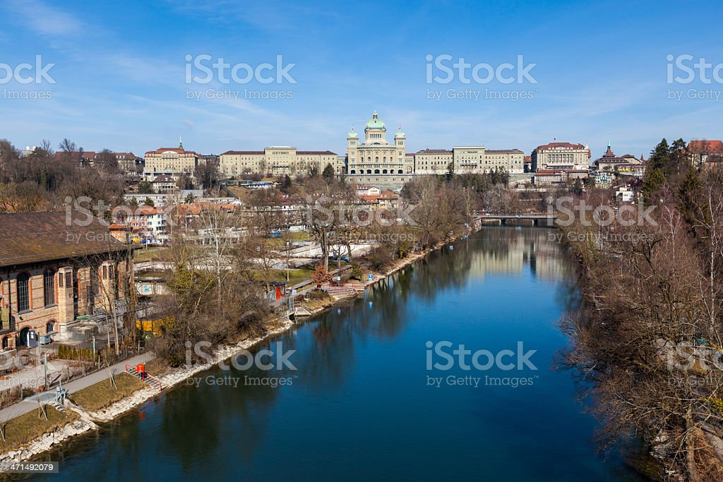 Bundeshaus and Aare River in Bern, Swiss royalty-free stock photo