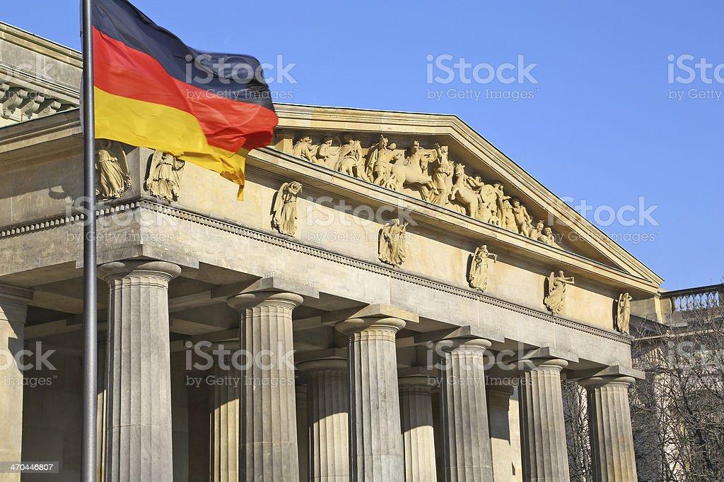 Bundestag & german flag in Berlin royalty-free stock photo