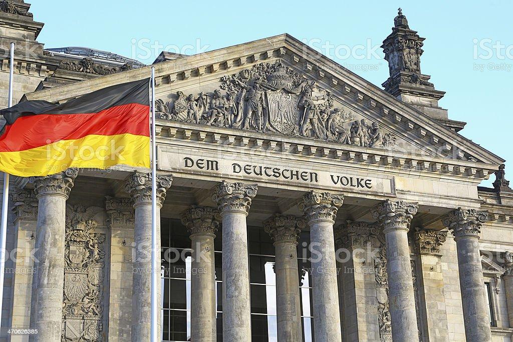 Bundestag in Berlin & german flag royalty-free stock photo
