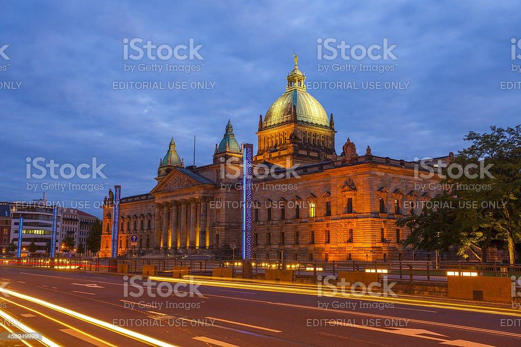 Bundesverwaltungsgericht building in Leipzig, Germany by night stock photo