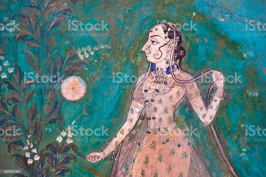 Bundi Palace Painting From Rajasthan, India royalty-free stock photo