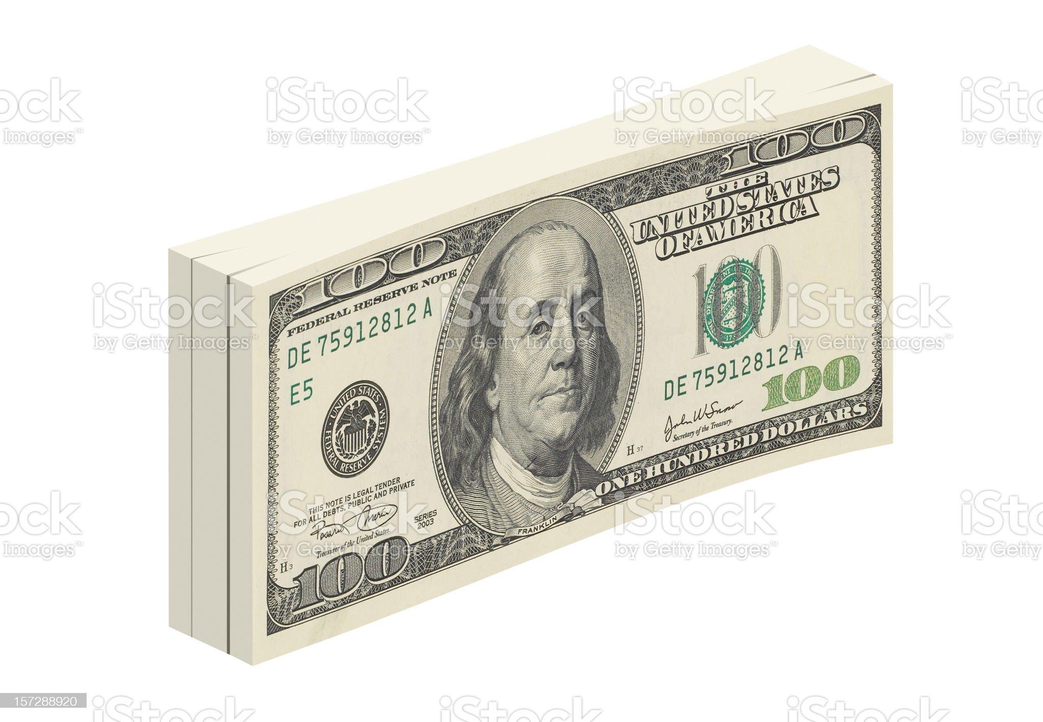 3D bundle of 100 dollar bills. royalty-free stock photo