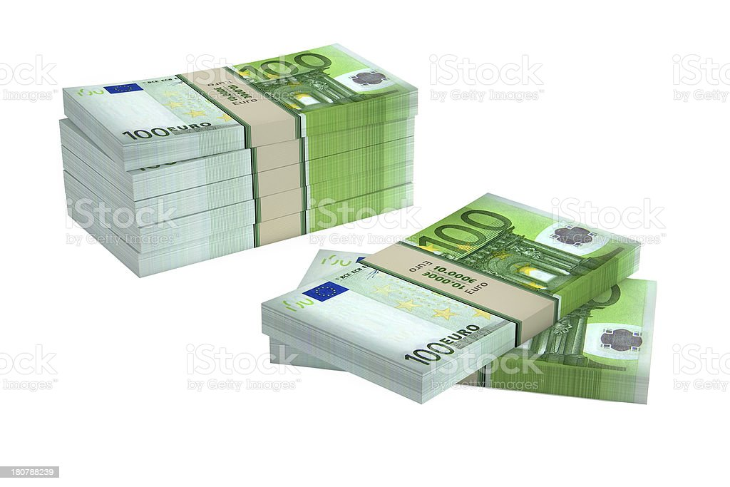 Bundle of 100 Euro banknotes royalty-free stock photo