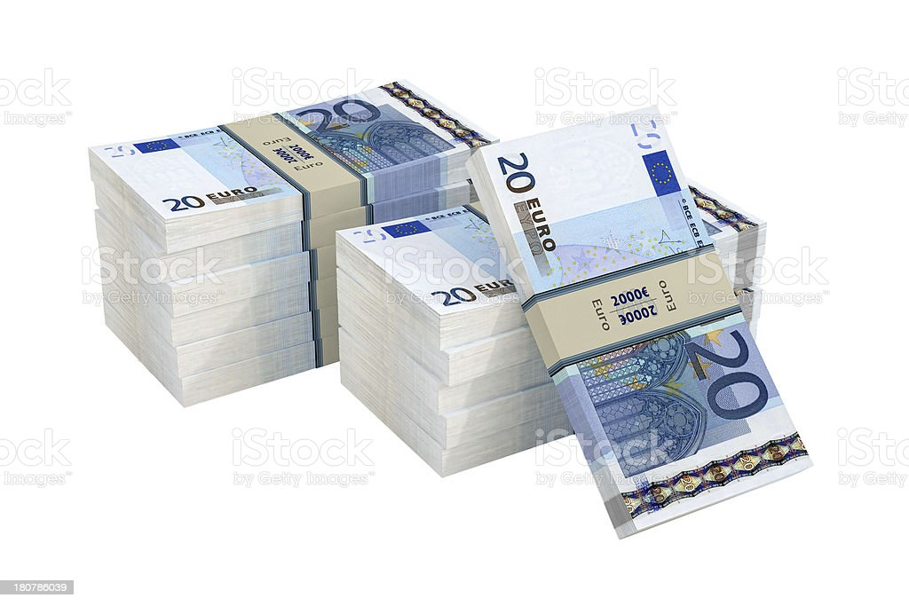 Bundle of 20 Euro banknotes royalty-free stock photo