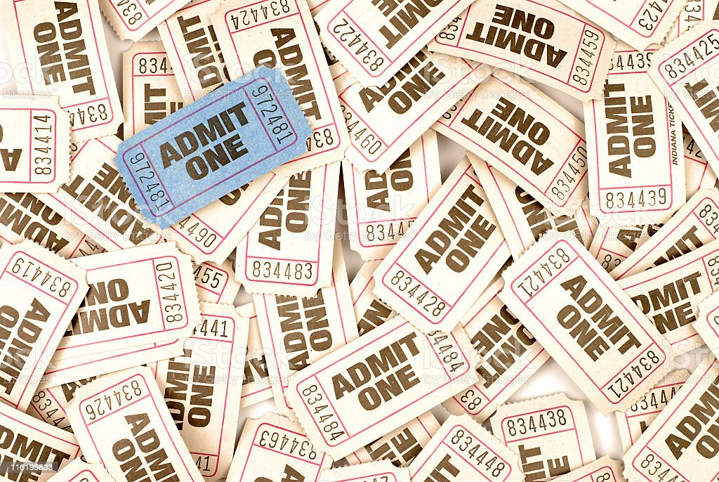 Bundle of admit one admission tickets stock photo