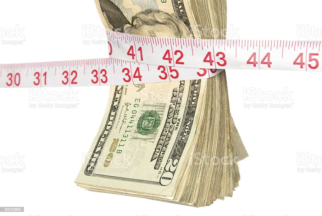 Bundle of cash getting squeezed royalty-free stock photo