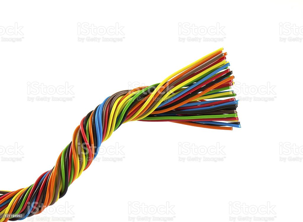 Bundle of color cables stock photo