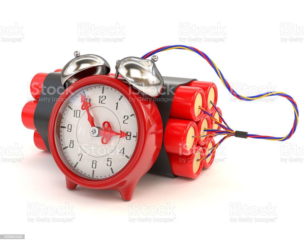 Bundle of dynamite and clocks isolated on white background.3d illustration stock photo