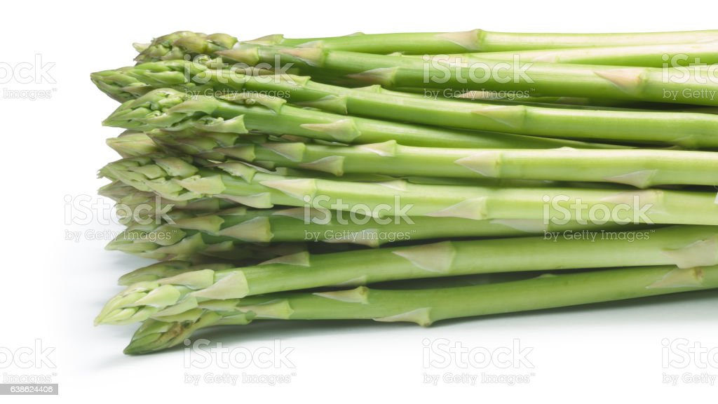 Bundle of green asparagus, paths stock photo