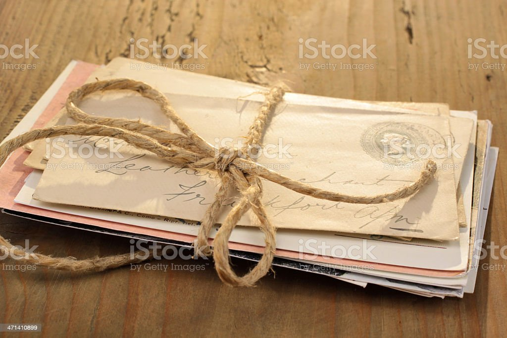 Bundle of letters stock photo