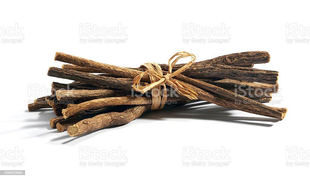 Bundle of licorice root stock photo