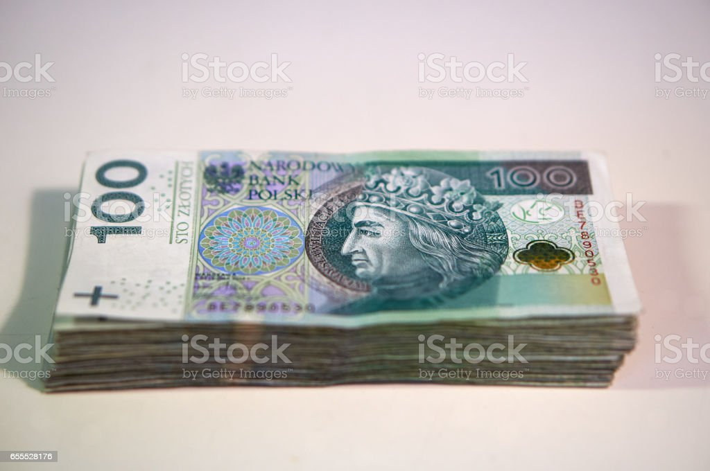 Bundle of money - Polish zlotys - Polish currency, 100 PLN bills stock photo