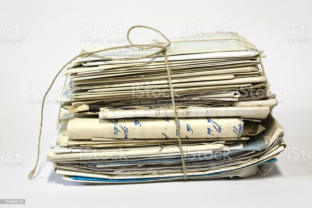 Bundle of old letters with string. stock photo