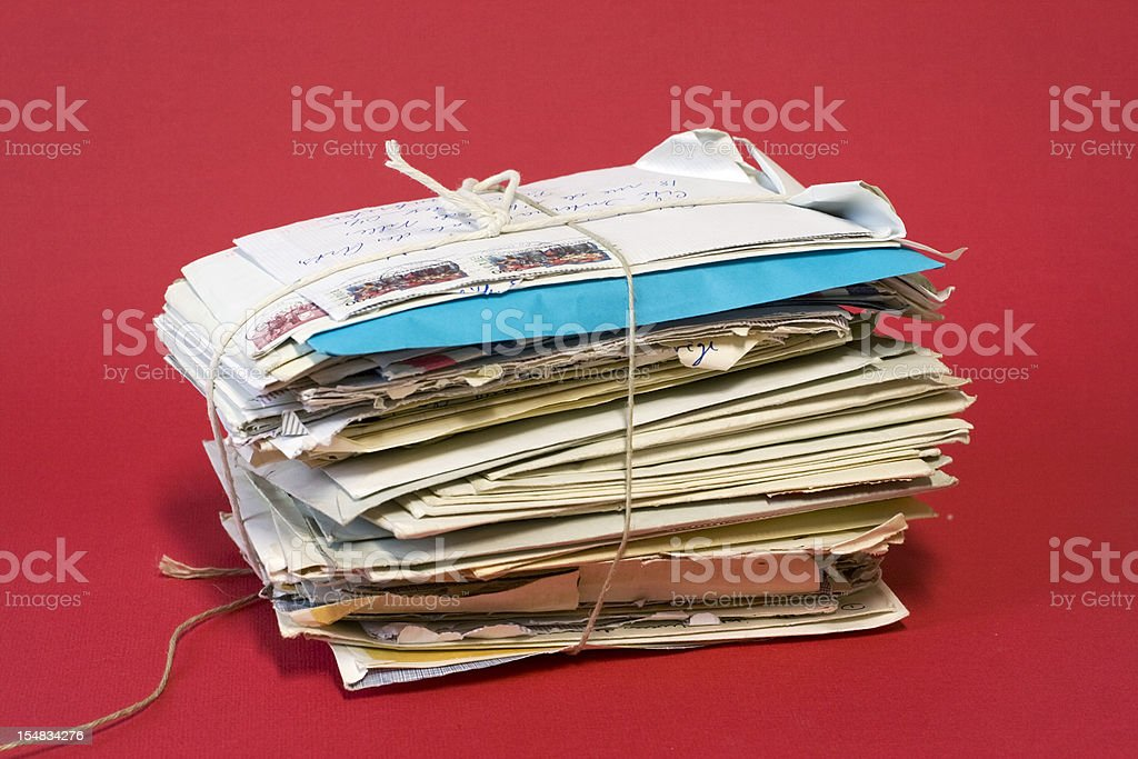 Bundle of old letters. stock photo