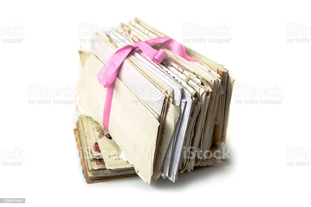 Bundle of old love letters. stock photo