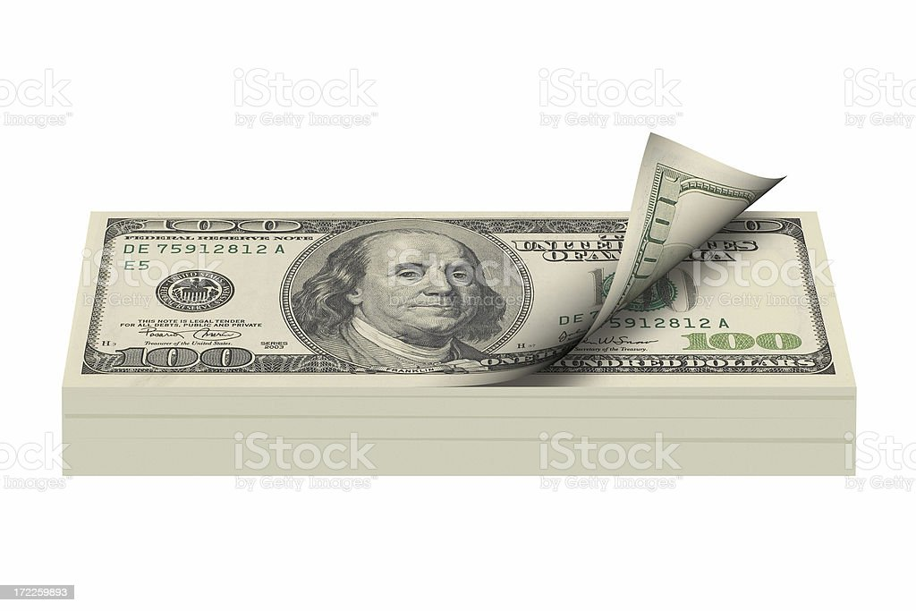 Bundle of one hundred dollar bills royalty-free stock photo
