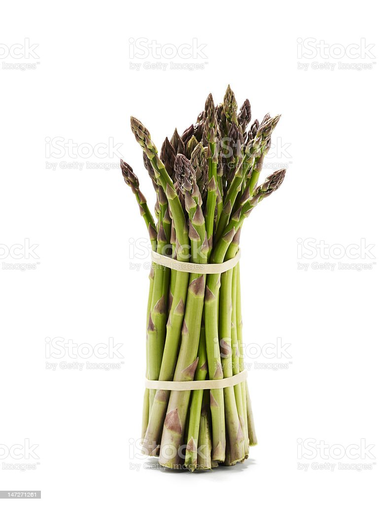 Bundle of uncooked asparagus spears royalty-free stock photo