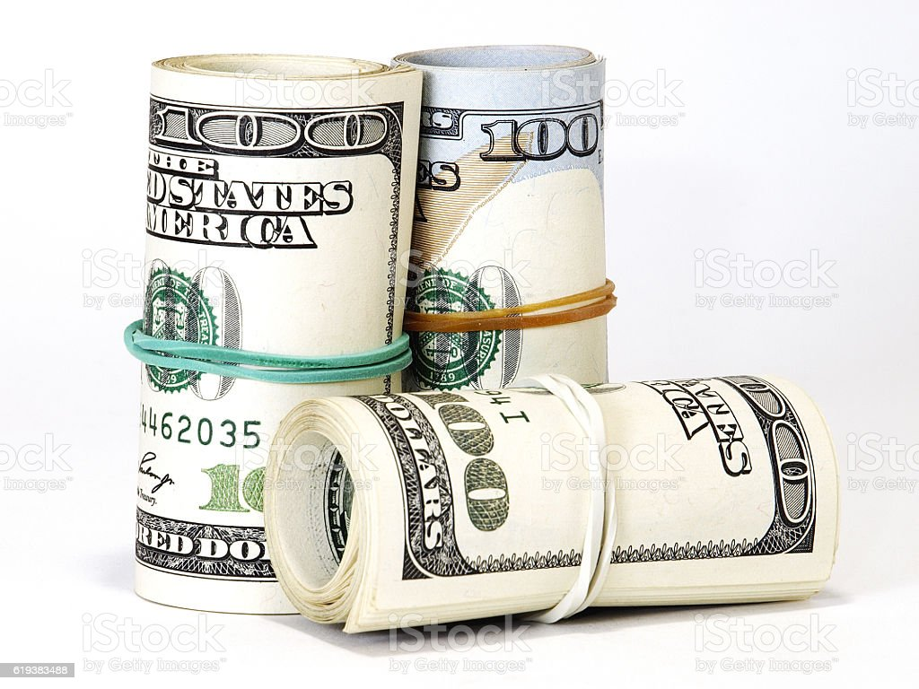 Bundle of US 100 dollars bank notes stock photo