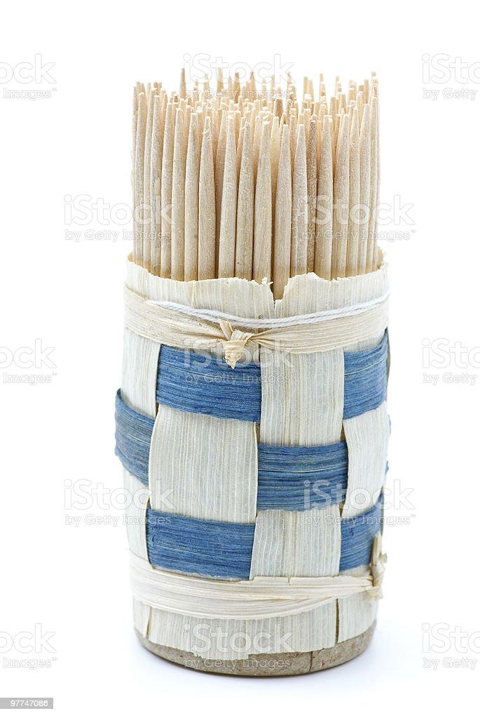Conjunto de toothpicks de Madeira foto de stock royalty-free