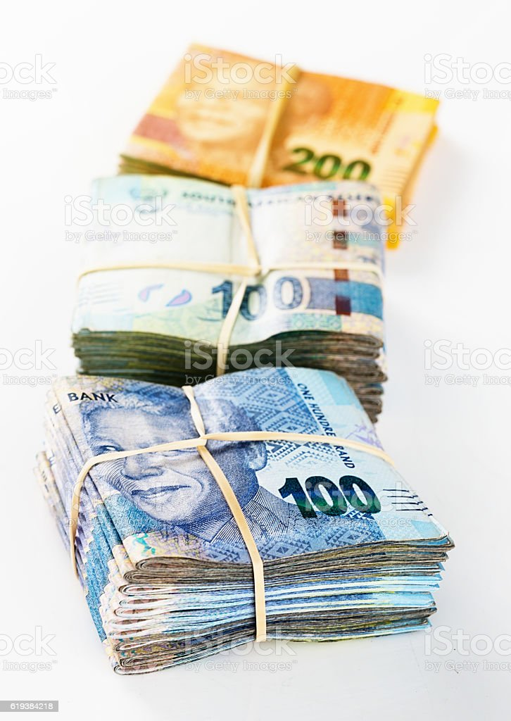 Bundled South African banknotes worth Thousands of Rands stock photo