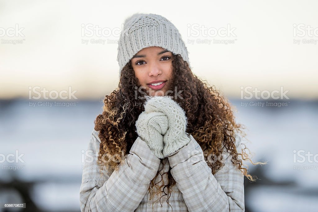 Bundled Up in the Snow stock photo
