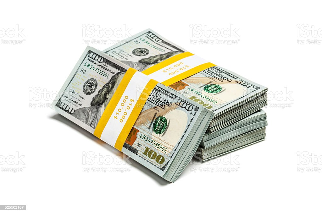 Bundles of 100 US dollars 2013 edition banknotes (bills) isolate stock photo