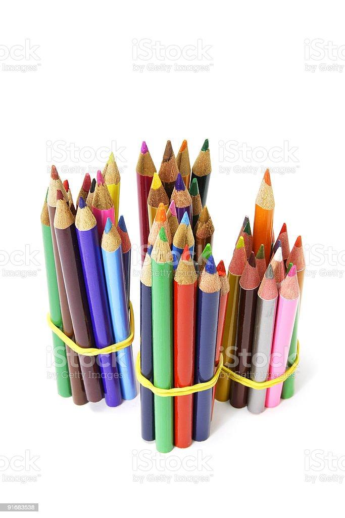 Bundles of Color Pencils royalty-free stock photo