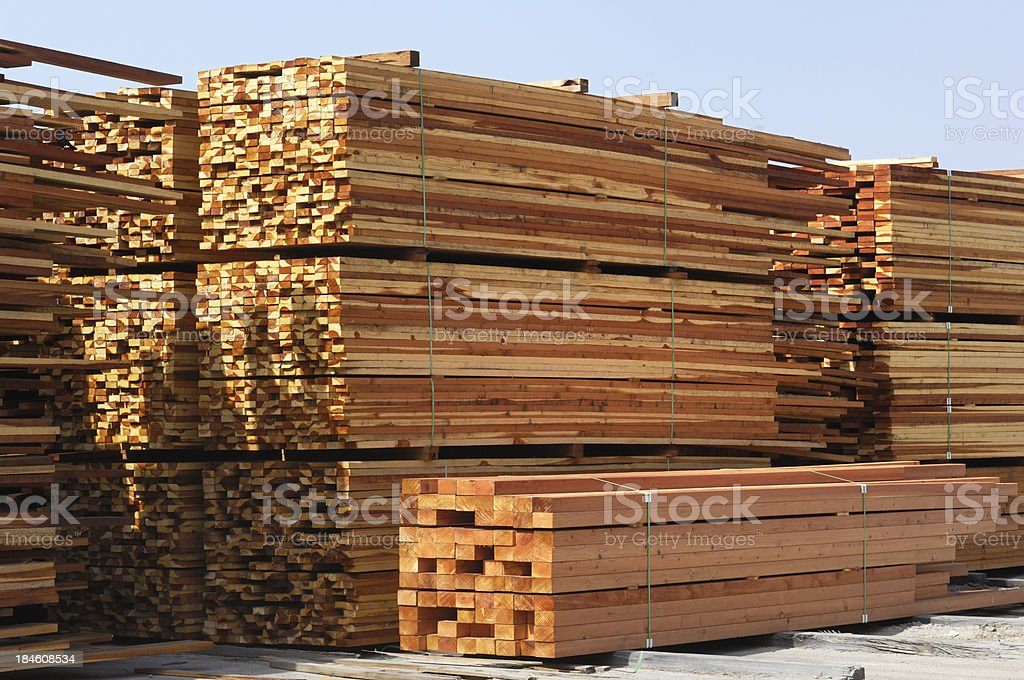 Bundles of Just Milled Redwood Lumber royalty-free stock photo