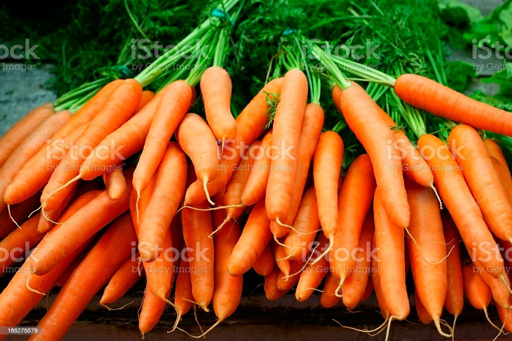 Bundles of organic carrots with the stems still attached stock photo