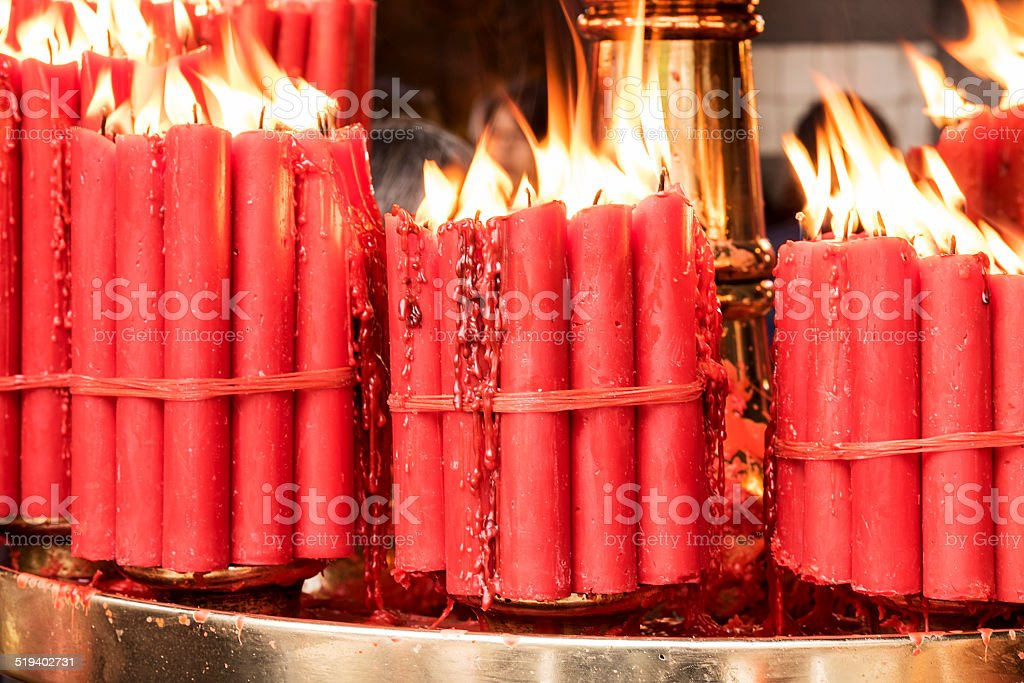 Bundles of Red Prayer Candles stock photo