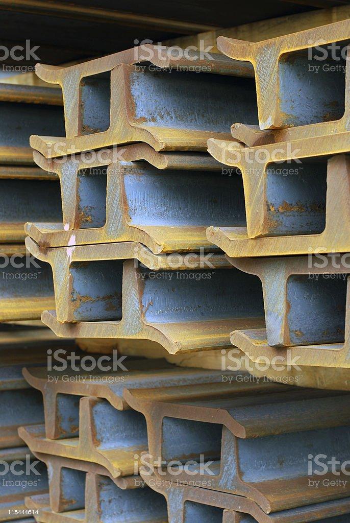bundles of steel grouser bars stock photo
